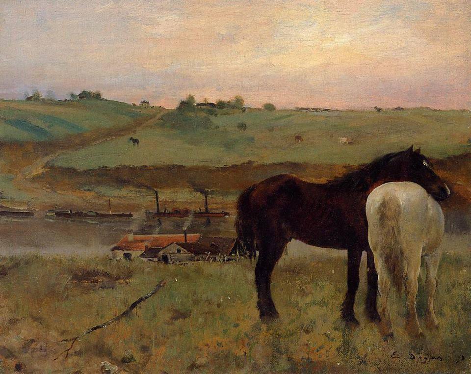 Horses in a Meadow, 1871 Edgar Degas